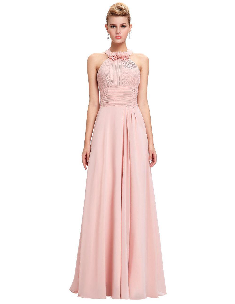 free shippingBackless Prom Dress Long 2016 Halter Pleated Waist ...
