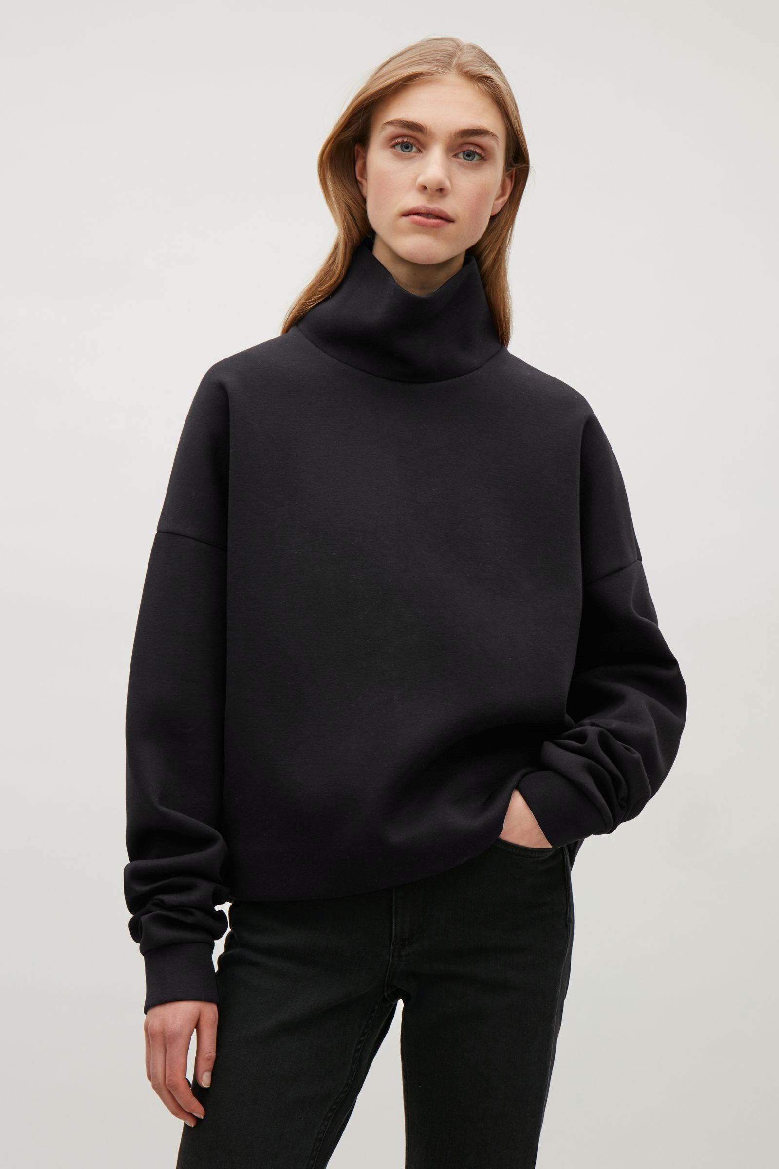 11ba562c21 COS image 7 of Oversized high-neck sweatshirt in Black Black Layers