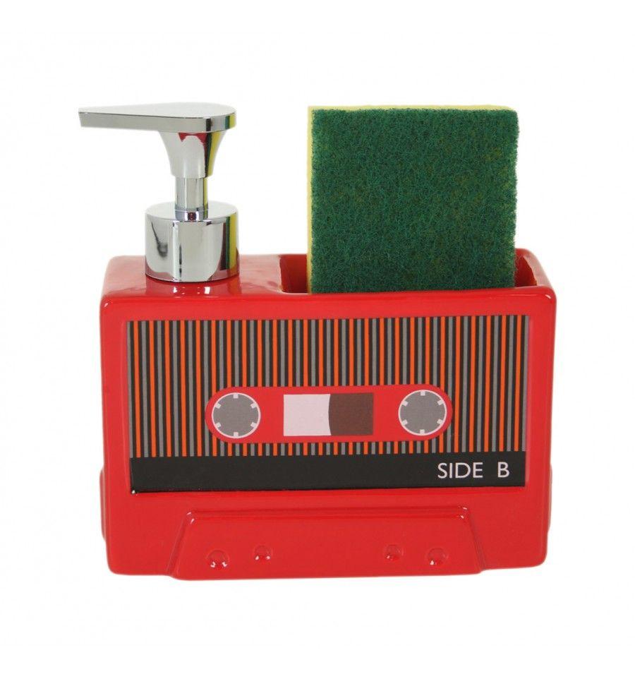 Dosificador jabón cocina Cassette retro rojo   KAMIR - Decoración y ...