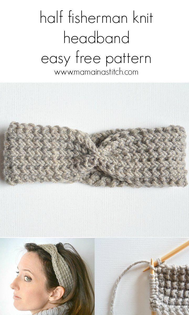 Ribbed Easy free Half Fisherman Knit Headband Pattern - a simple ...
