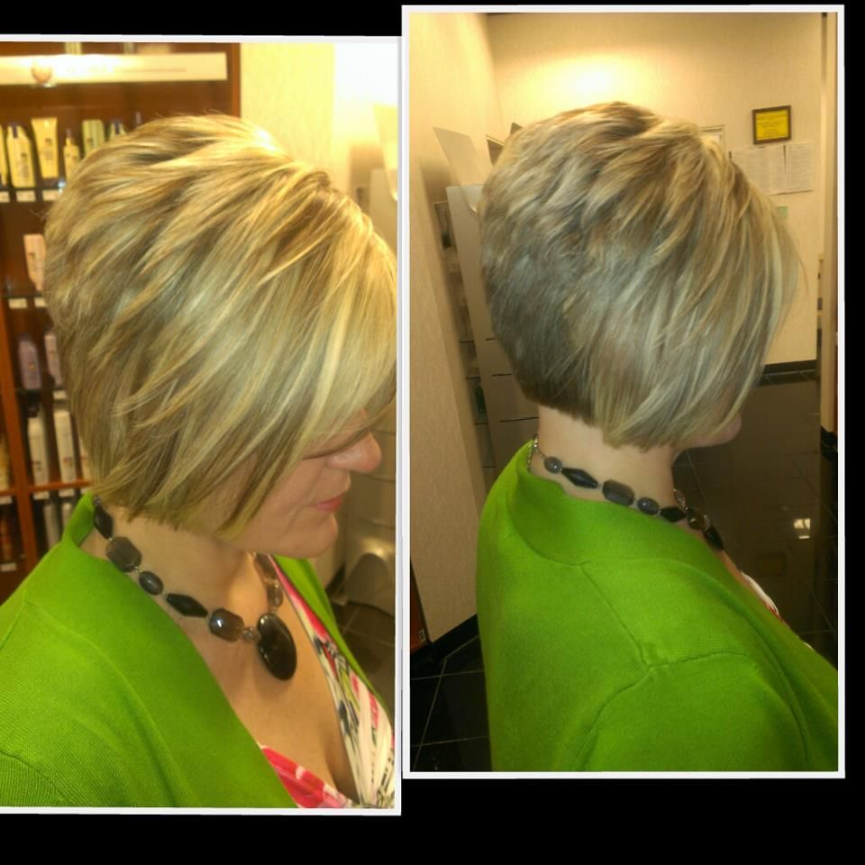 Blonde highlight and lowlight short stacked bob hair uc makeup