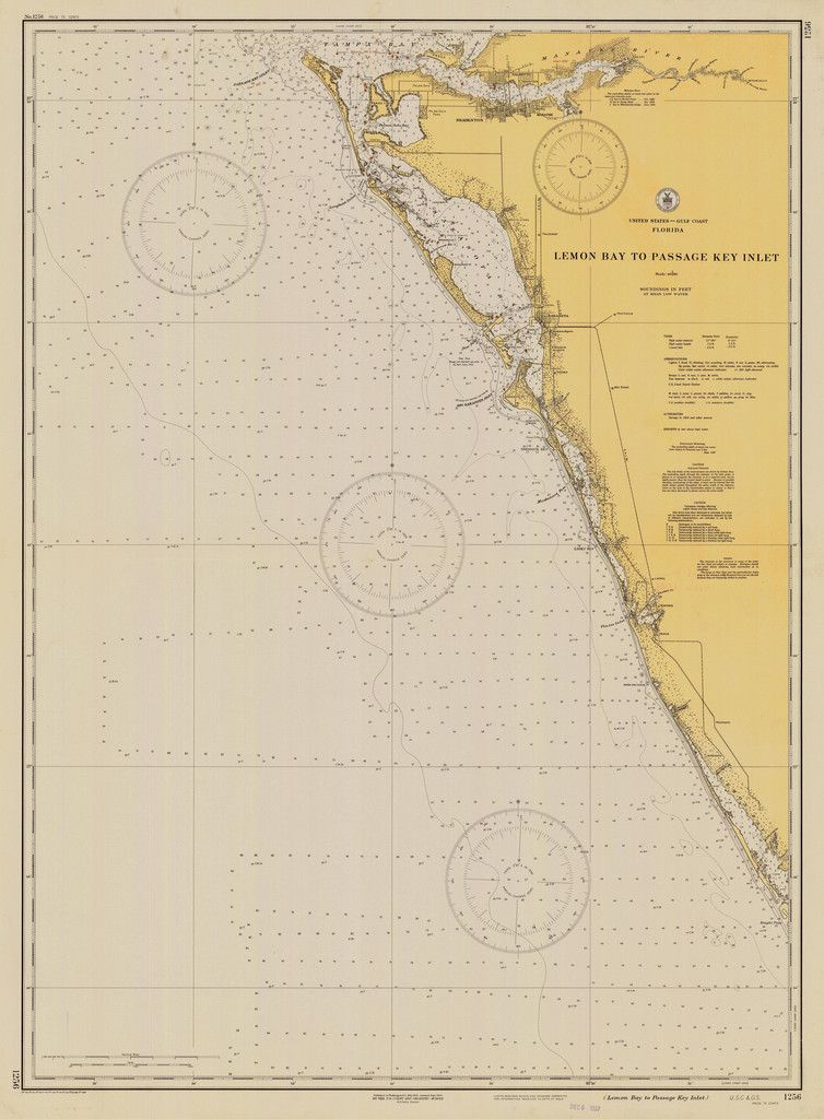 Map Of Florida Bays.Lemon Bay Florida Map 1930 Florida Gulf Of Mexico Nautical