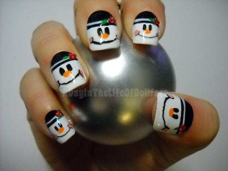Snowman Nails - Winter Christmas Nail Art - Snowman Nails - Winter Christmas Nail Art Nails Pinterest