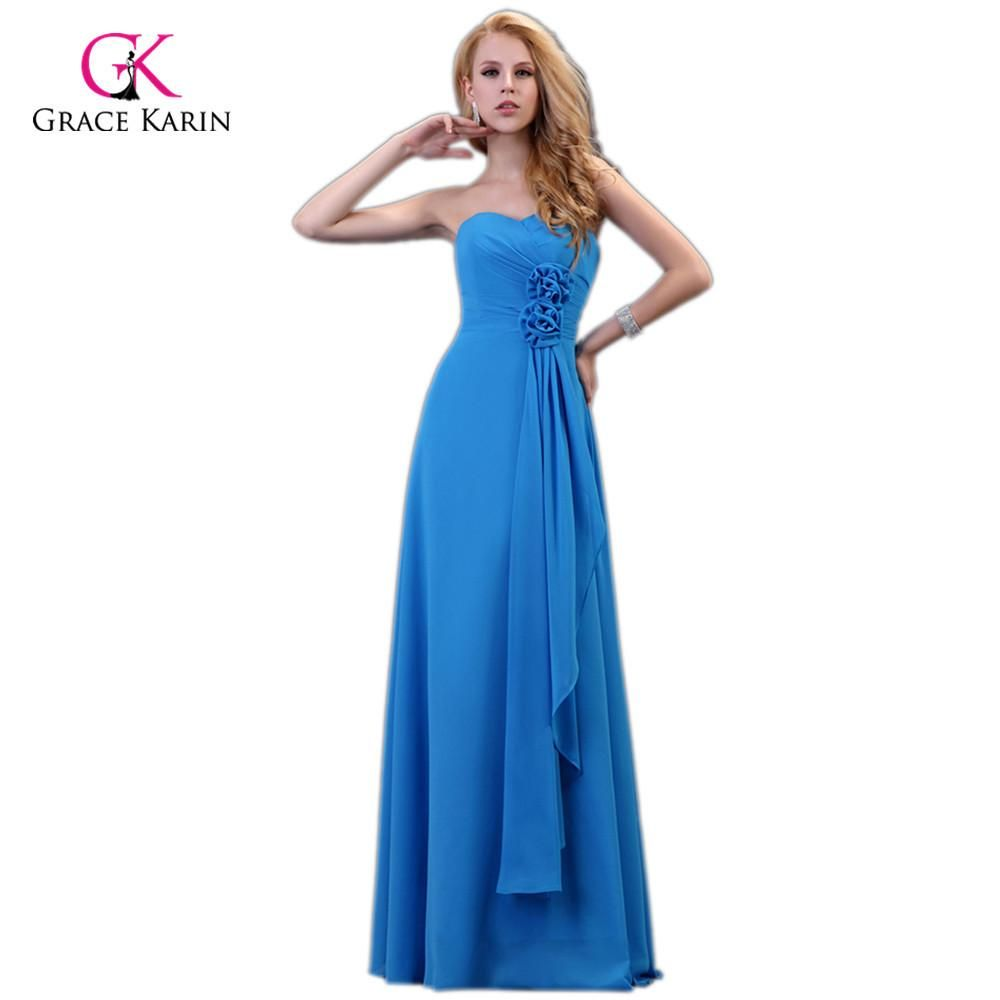 Strapless Chiffon Long Blue Evening Dresses New Arrival elegant ... 11a0c7acb84