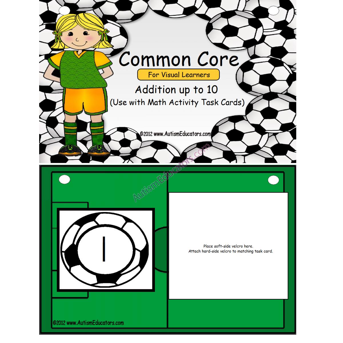 Common Core Kindergarten Addition Task Book For Visual