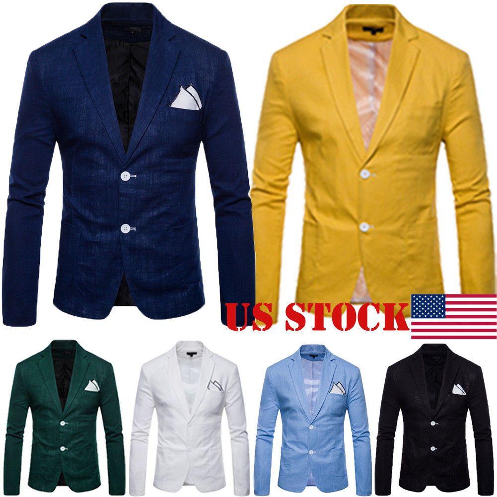Men/'s Slim Fit Two Button Formal Business Casual Suit Blazer Coat Jacket Tops