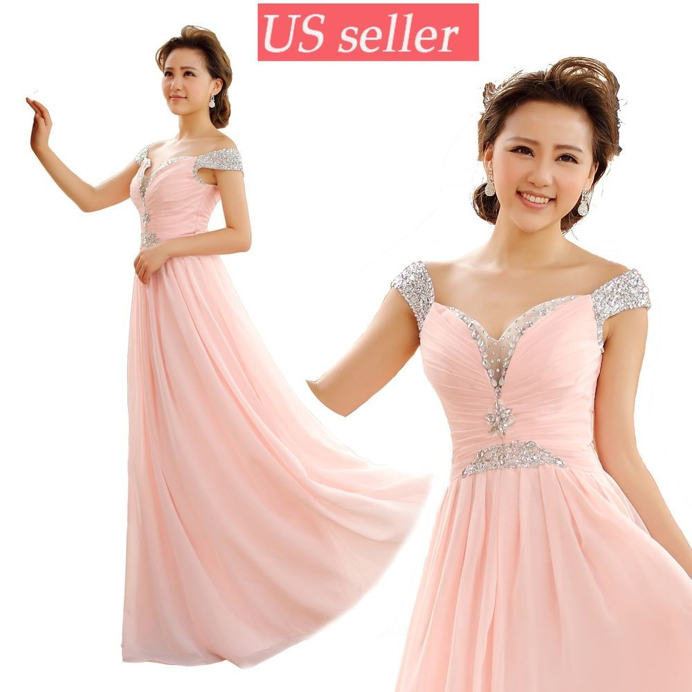 US Seller Long Bridesmaid Evening Ball Gown Prom Formal Party ...