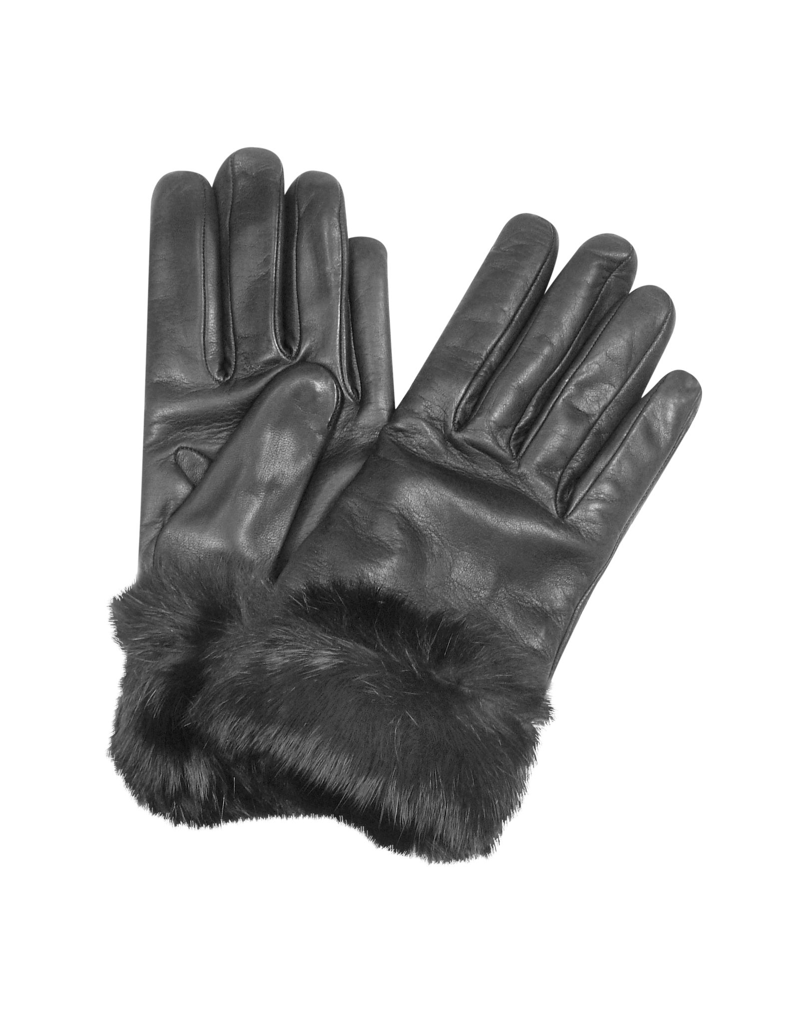 fe13126cfb8c Forzieri Black Cashmere Lined Italian Leather Gloves with Fur S