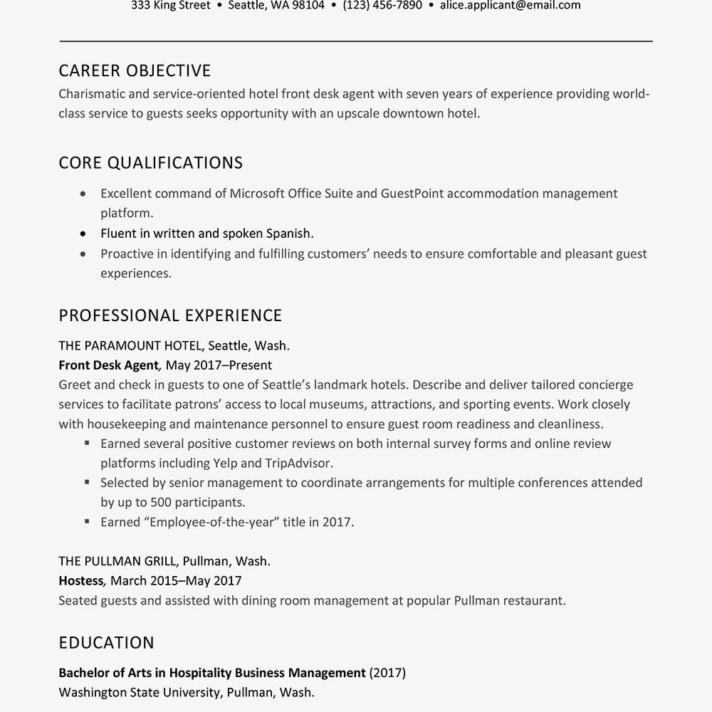 Hotel Front Desk Resume Hotel General Manager Resume