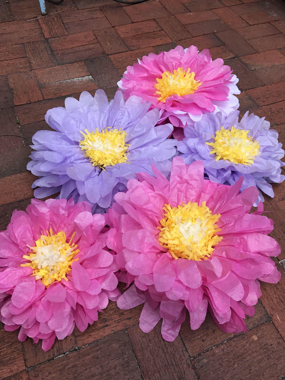 Party backdrop  tissue paper flowers  pink flowers  purple