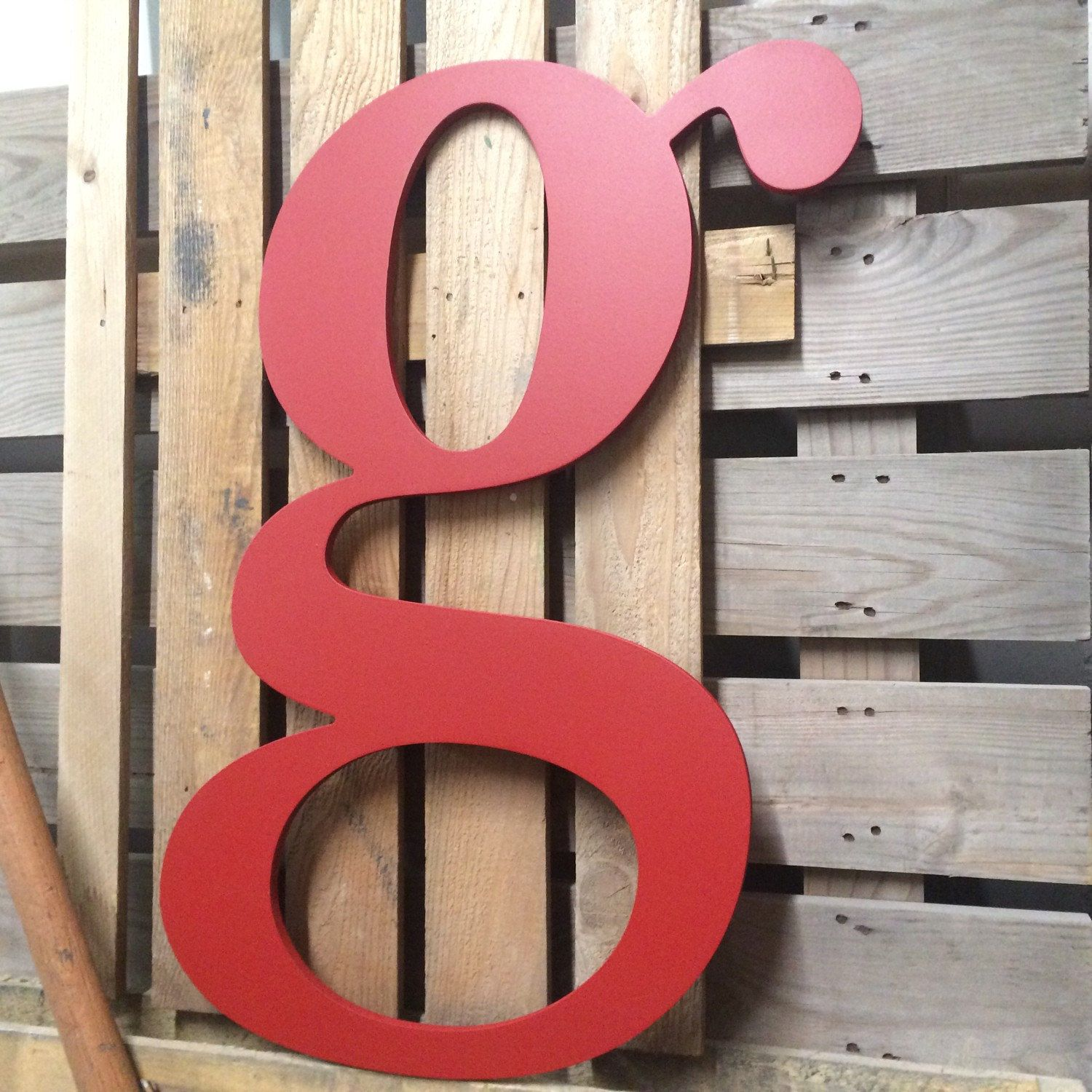 Wooden g upper style big lower case letter g wall art wall