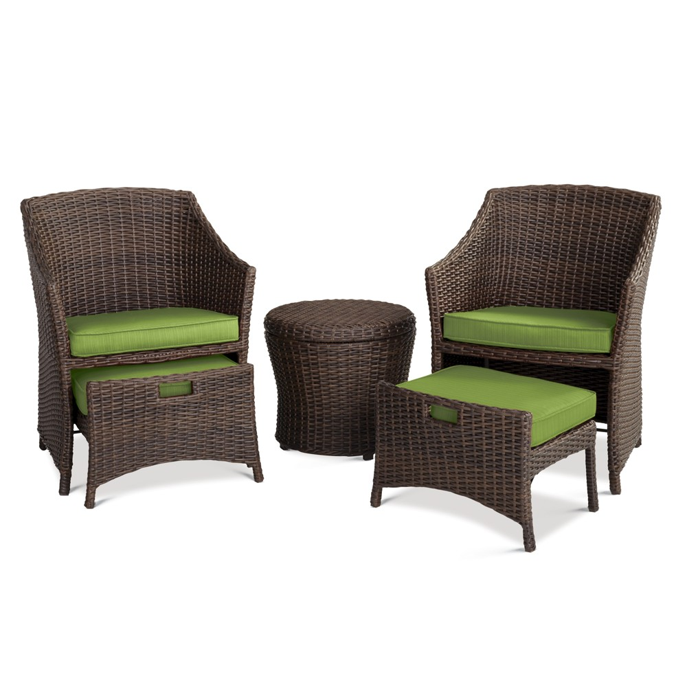 Belvedere 5pc Wicker Patio Seating Set - Green Threshold