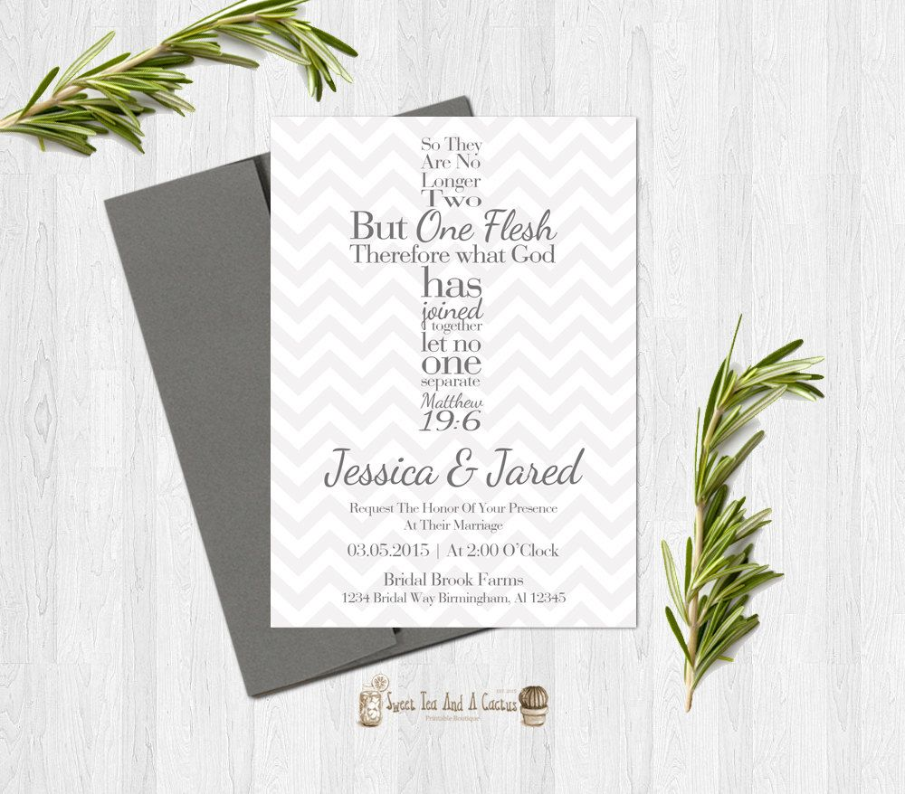 Bible Verse Cross Wedding Invitation Christian Matthew 19