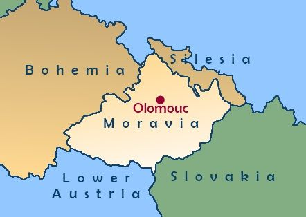 Map showing the location of Moravia Bohemia and Silesia Family