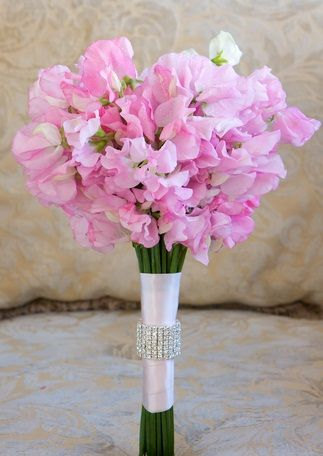 Pink Sweet Peas Bouquet Tied With White Satin A Crystal Ring