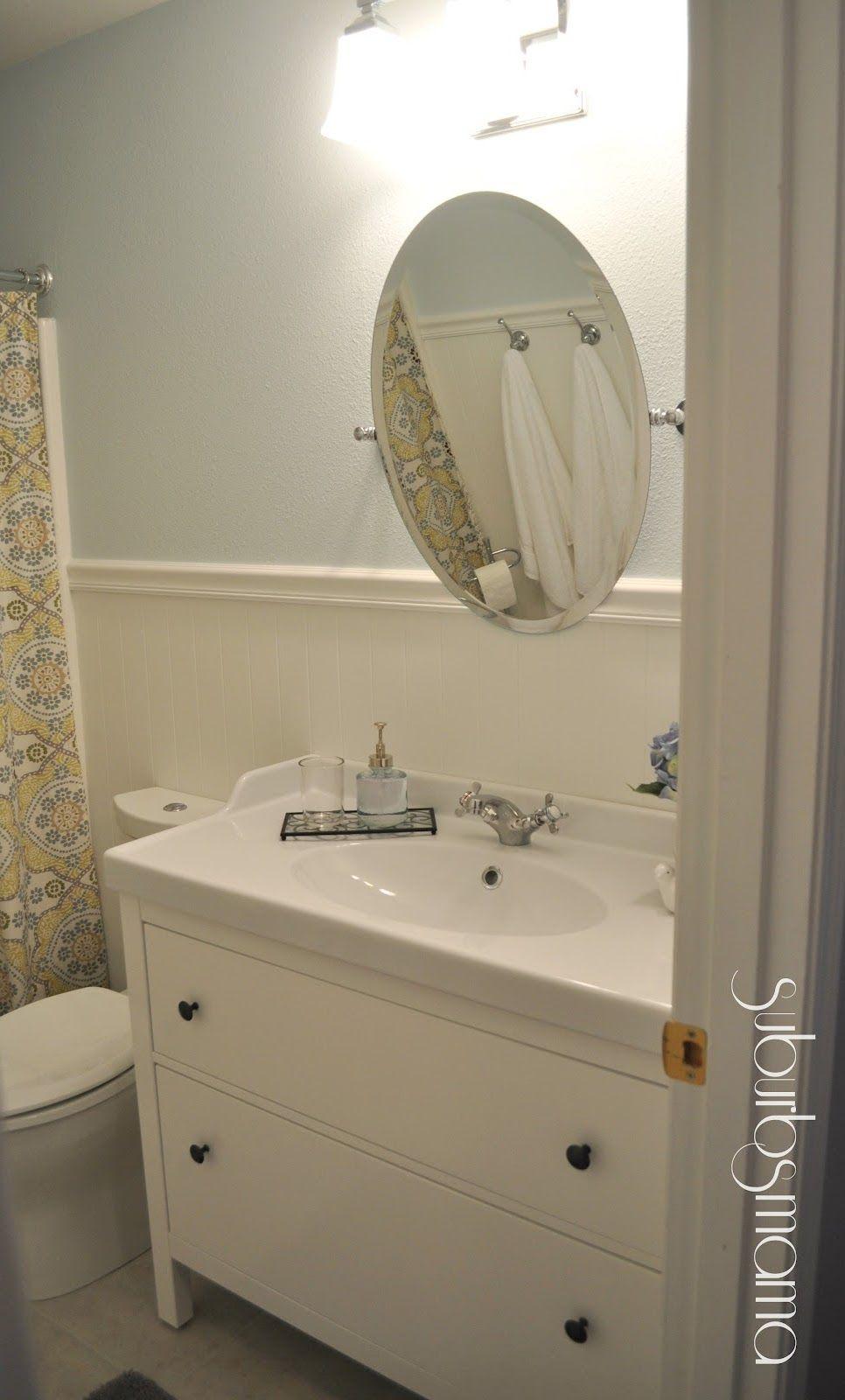 Suburbs mama hallway bath reveal ikea vanity sink - Ikea bathroom sinks and vanities ...