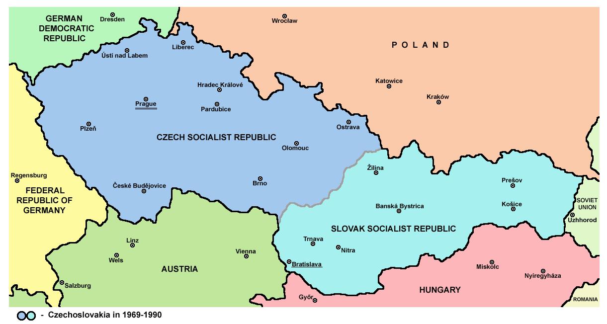 Map Of Czechoslovakia In 1969 1990 Czechoslovakia