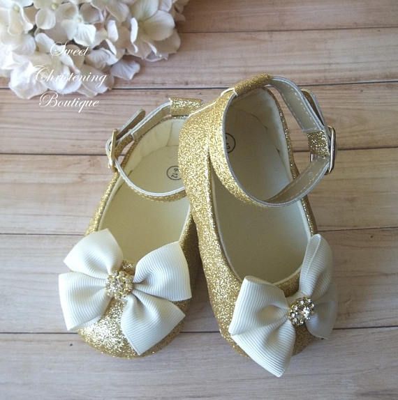 d651b253b Ivory and Gold Baby Girl Shoes - Ivory and Gold Flower Girl Shoes ...