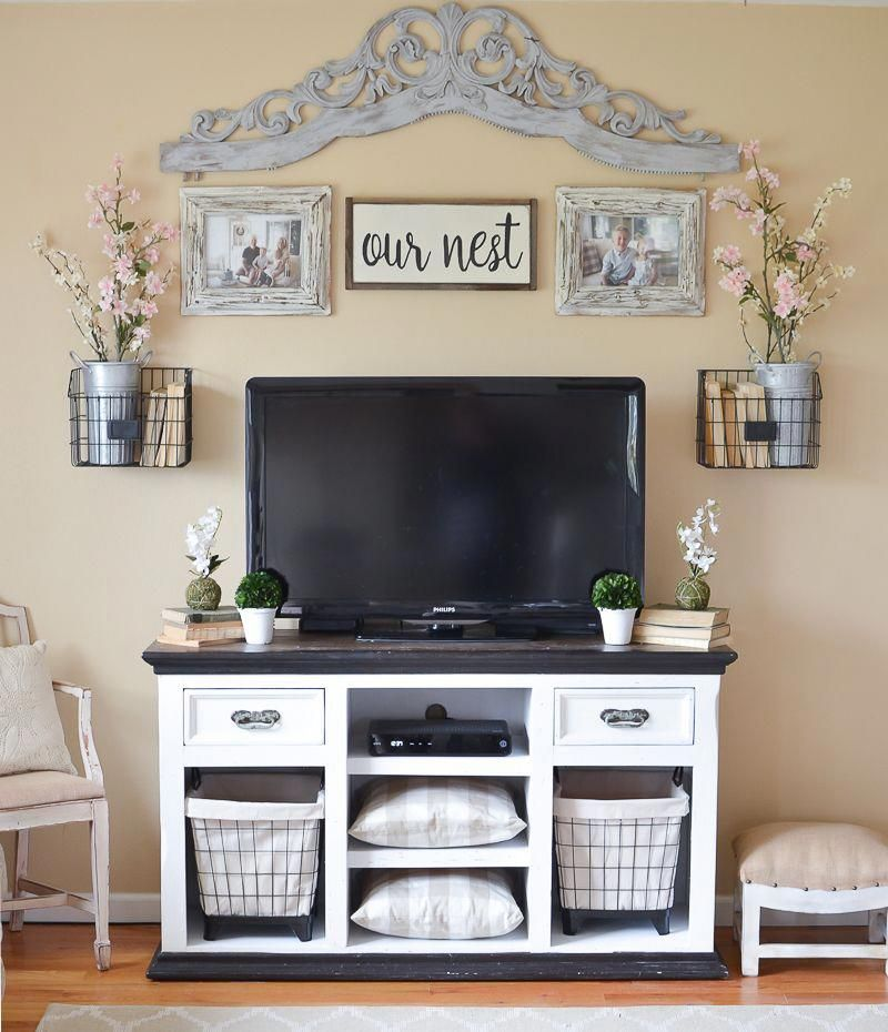 easy farmhouse style tv stand makeover diyhomedecorpicturesawesome rh pinterest com