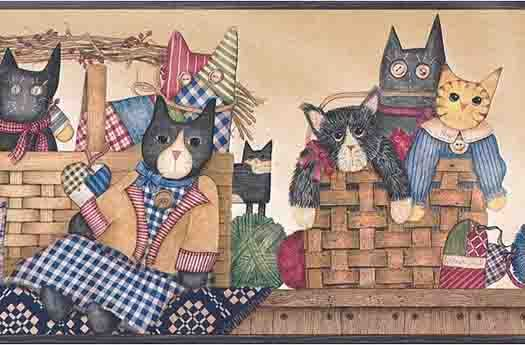 Blue Folk Art Cat Wallpaper Border country rulo dekopaj