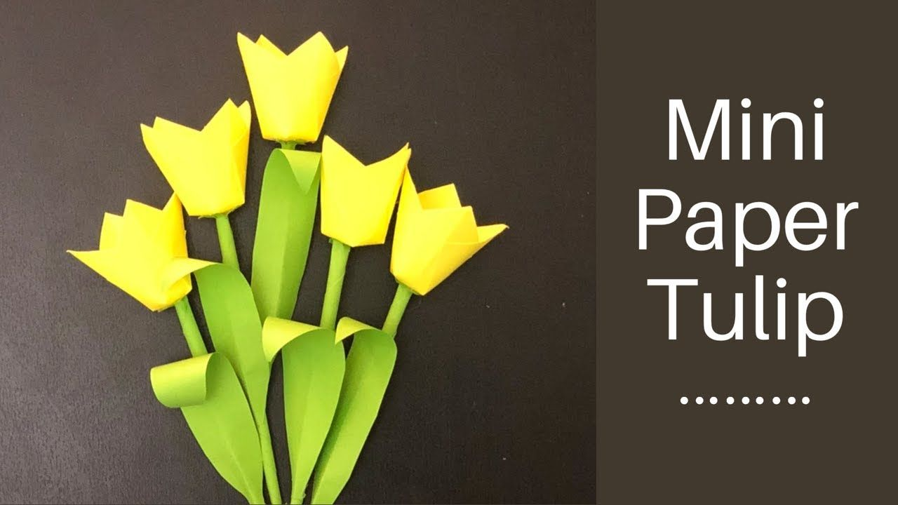 Paper Mini Tulip How To Make Easy Paper Tulips Diy Paper Craft Paper Flower Youtube Flower Vase Diy Paper Flowers Diy Paper Flowers