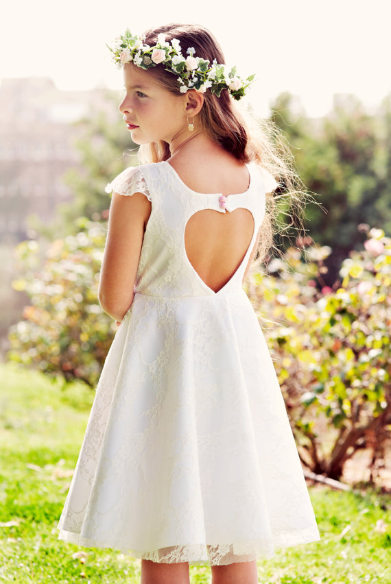 Flower Girl White Lace heart cut out Dress for girls by Bubale1 77b1d103d397