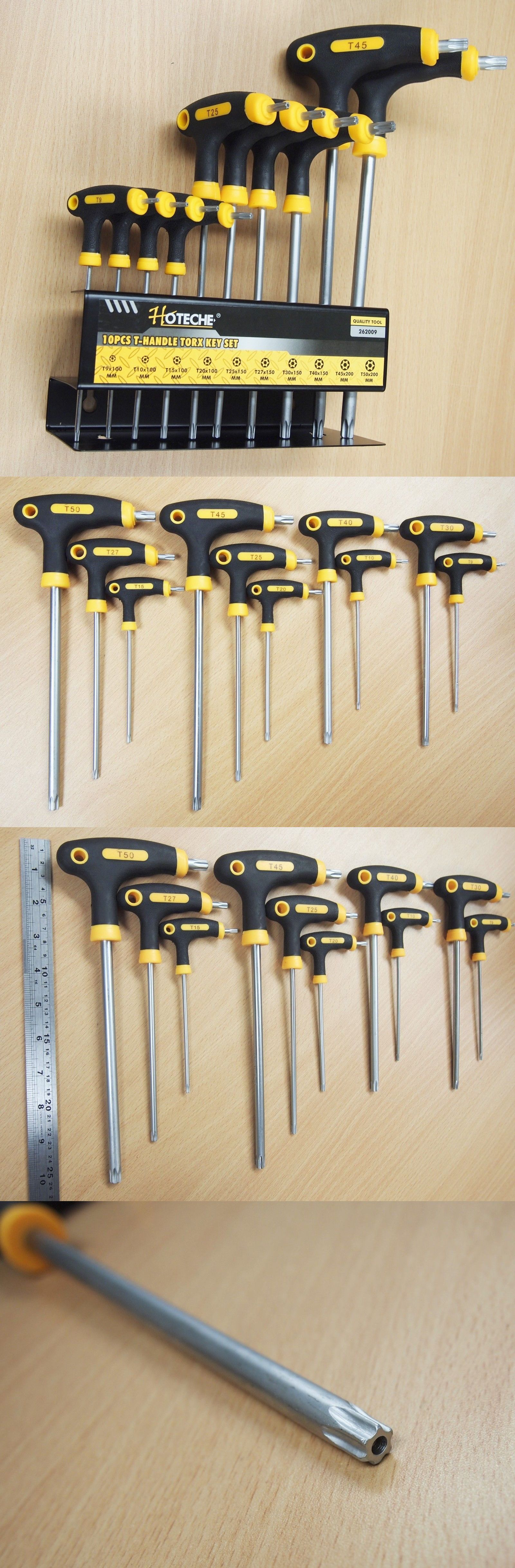 10pc T Handle Torx Star Key Wrench Set 2 Drive Ends Stand Rack Wrench Set Hex Key Wrenches