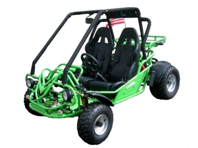 The Kandi 150XTX Go-Kart features a powerful 150cc engine