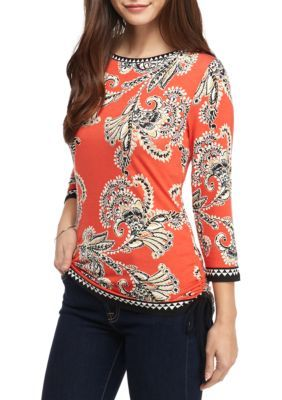 Ruby Rd Flame Multi Plus Size Modern Knits Floral Boat Side Tie Knit Top
