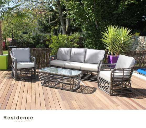 Salon Bas Durban En Aluminium Et Resine Tressee Mobilier Jardin Table Basse Mobilier Design