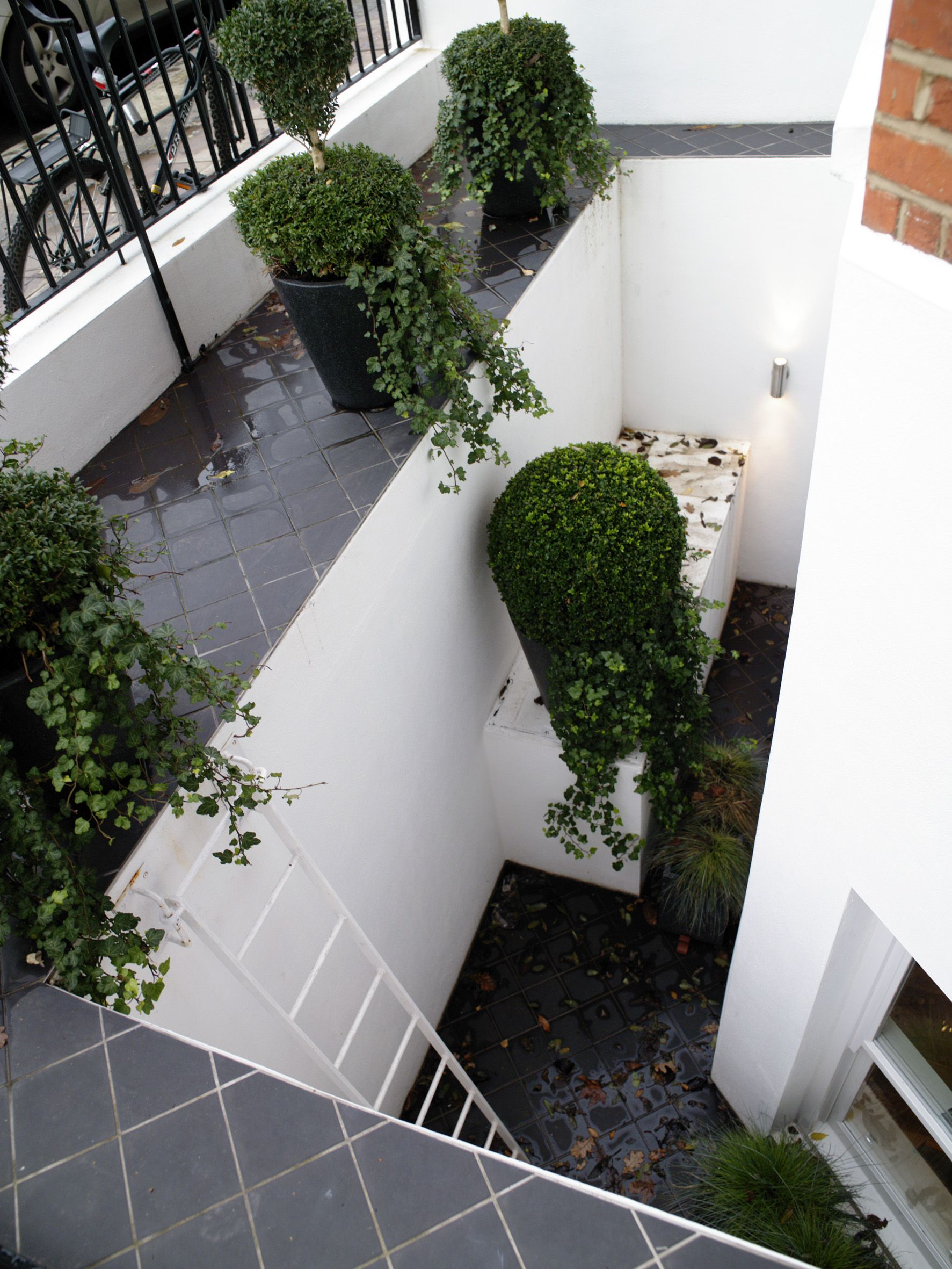 a feature is made of this open lightwell in a small london garden - Garden Ideas London