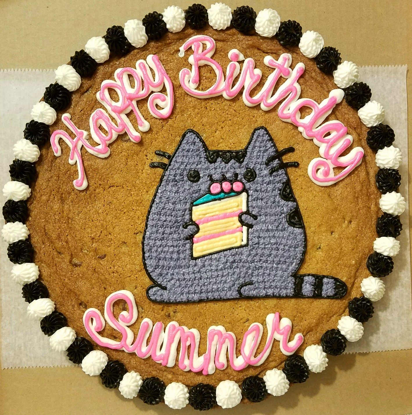 Fine Pusheen Cat Cookie Cake With Images Cookie Cake Birthday Funny Birthday Cards Online Sheoxdamsfinfo