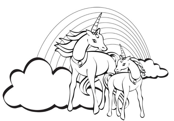 Unicorn Printable PDF Coloring Page For the Kids