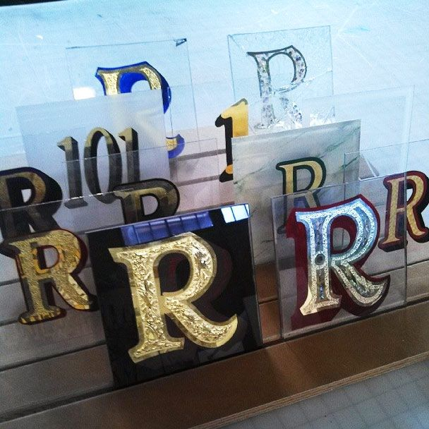 Gilded Glass Samples By Ginns Connors Danthonia Designs Blog Glass Sign Painted Signs Design