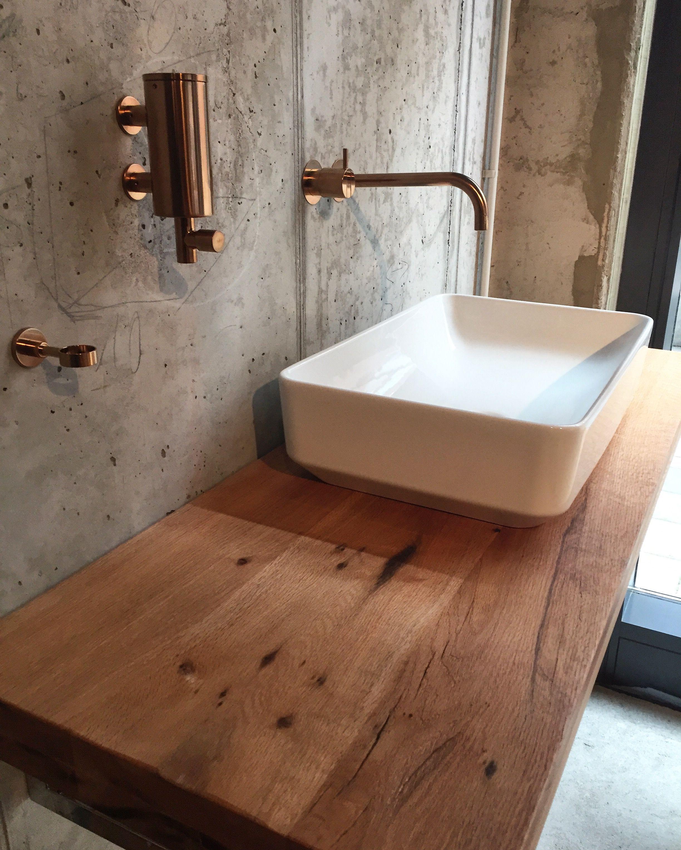 Waschtischplatte aus Holz / Waschtisch aus Eichenholz Altholz ...