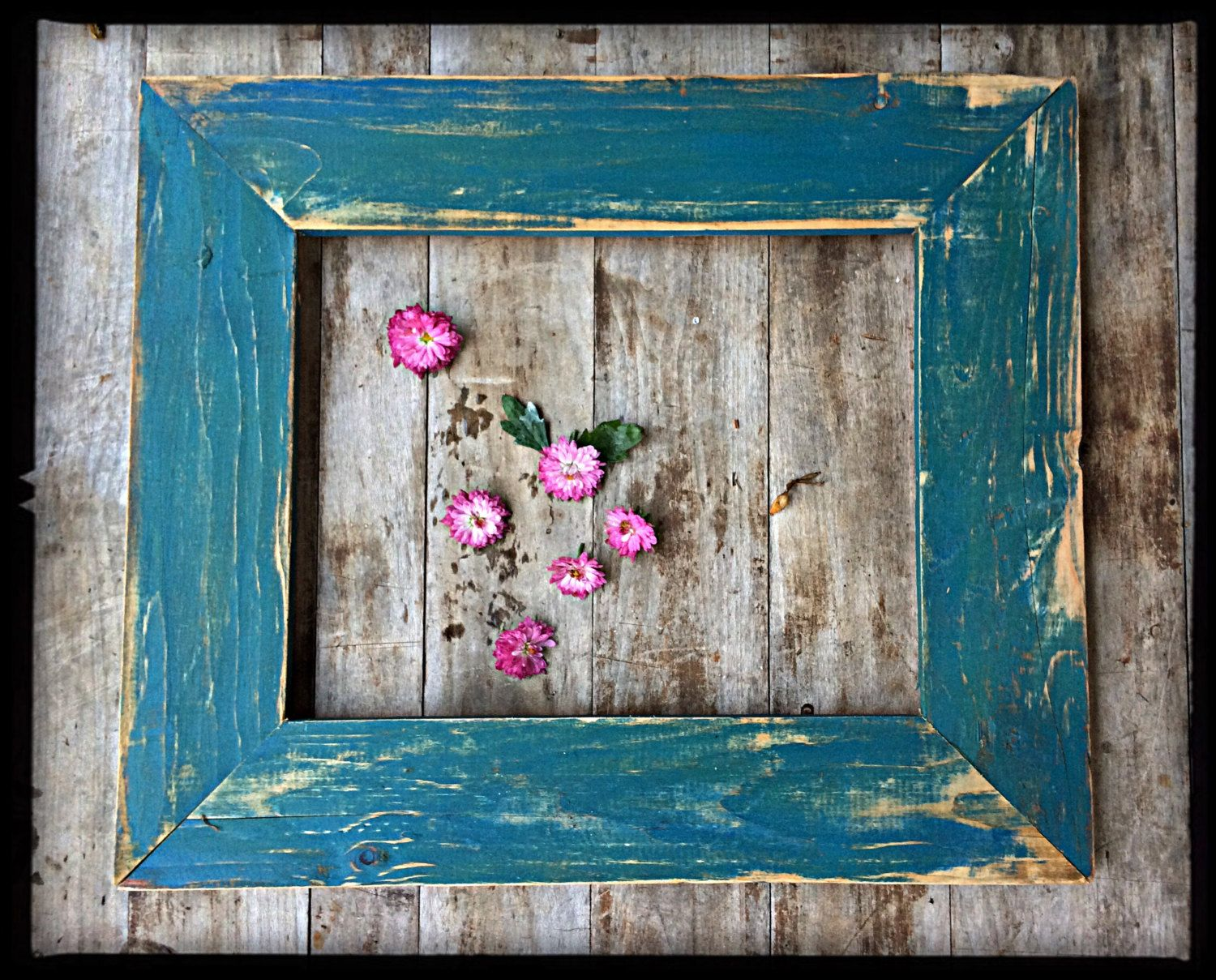 Rustic Decor 11x14 Distressed Teal Picture Frame Handmade Painted Frame Wall Decor 37 00 U Barn Wood Picture Frames Teal Picture Frames Rustic Decor