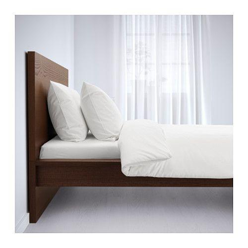 MALM Bed frame, high, brown stained ash veneer, Luröy | Recamara