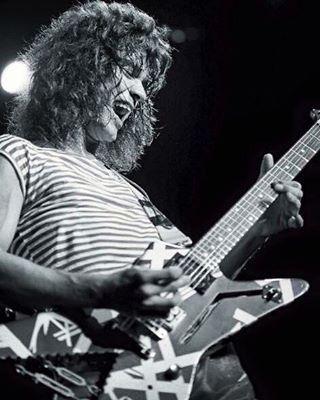 Eddie Van Halen With His Ibanez Shark Destroyer Guitar Circa 19