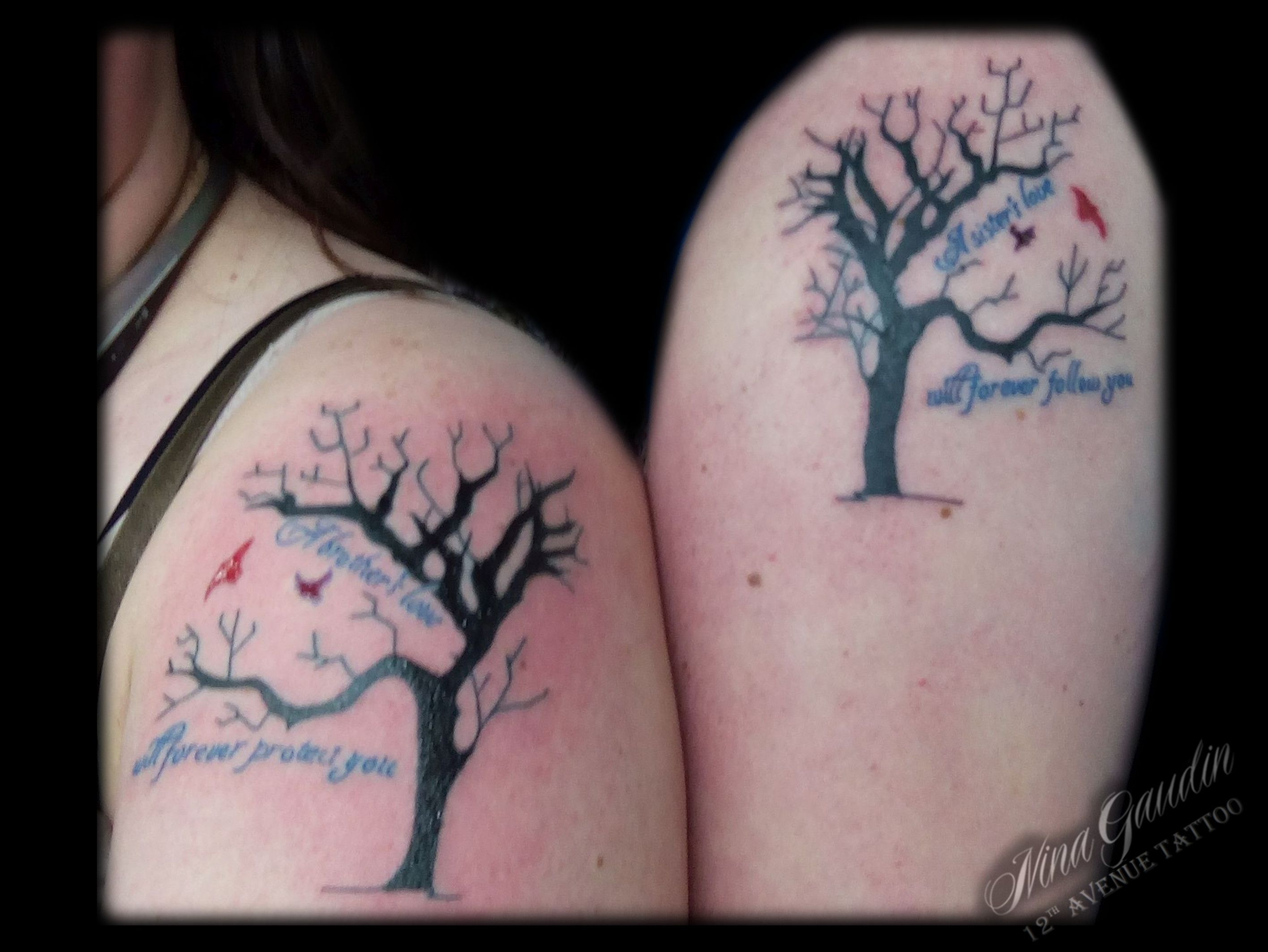 Brother Sister Tribute Family Tree Matching Black With Color Arm Arms Shoulder Tattoos By Nina Gaudin Of 12th Avenue Tat Tattoo Work Tattoos Shoulder Tattoos