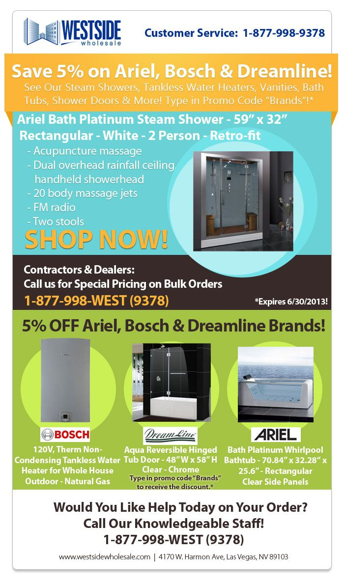 Save 5% on Ariel, Bosch and Dreamline! See our Steam Showers
