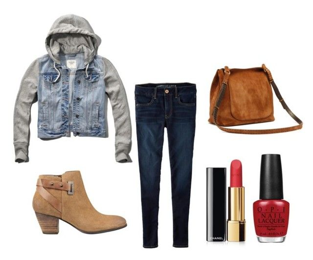 """""""Classes??¿"""" by lindseystyles on Polyvore featuring Abercrombie & Fitch, American Eagle Outfitters, GUESS, Chanel and OPI"""