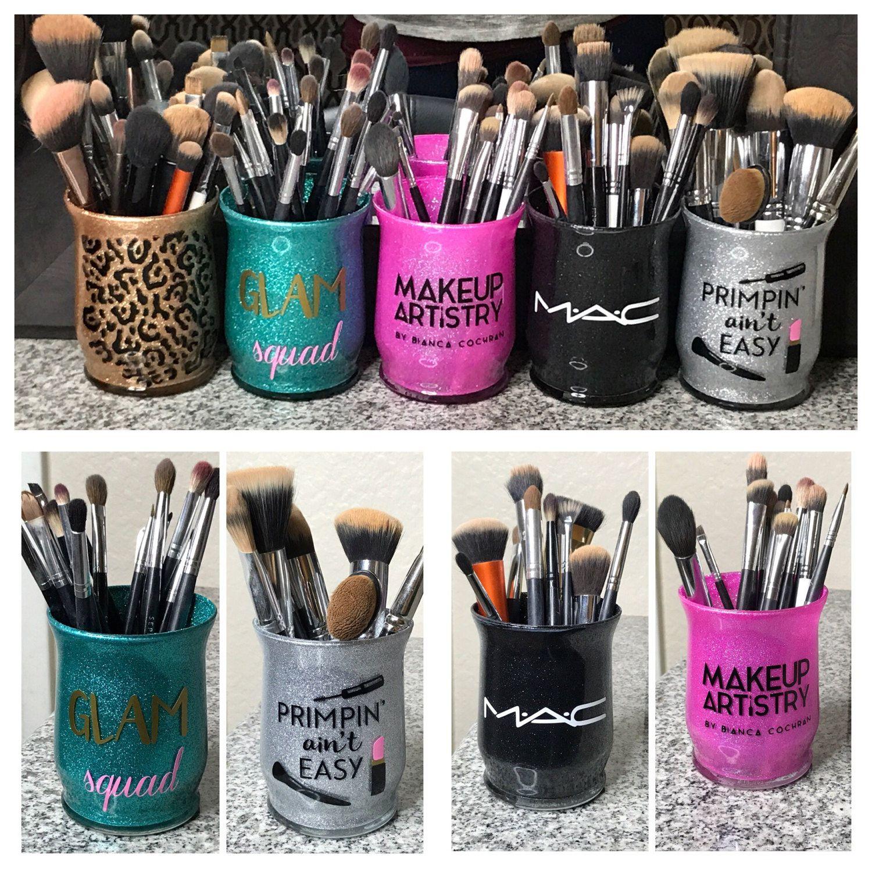 Custom glass glitter makeup brush holders Custom color