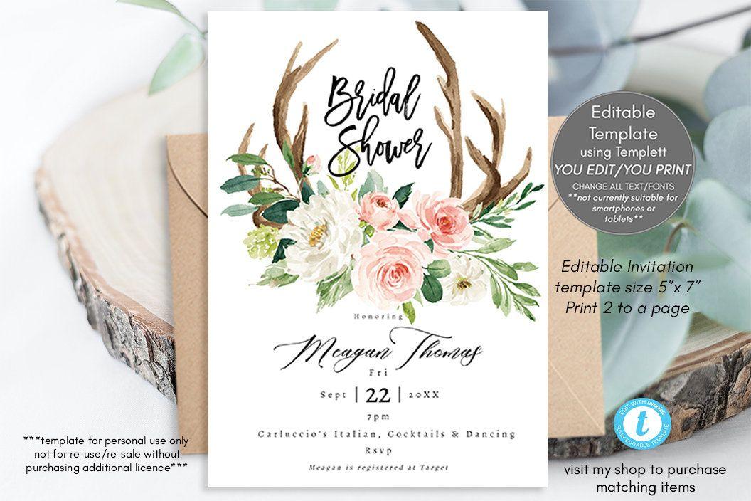 floral wreath bridal shower,printable bridal shower invitation editable bridal shower invitation template templett boho bridal shower