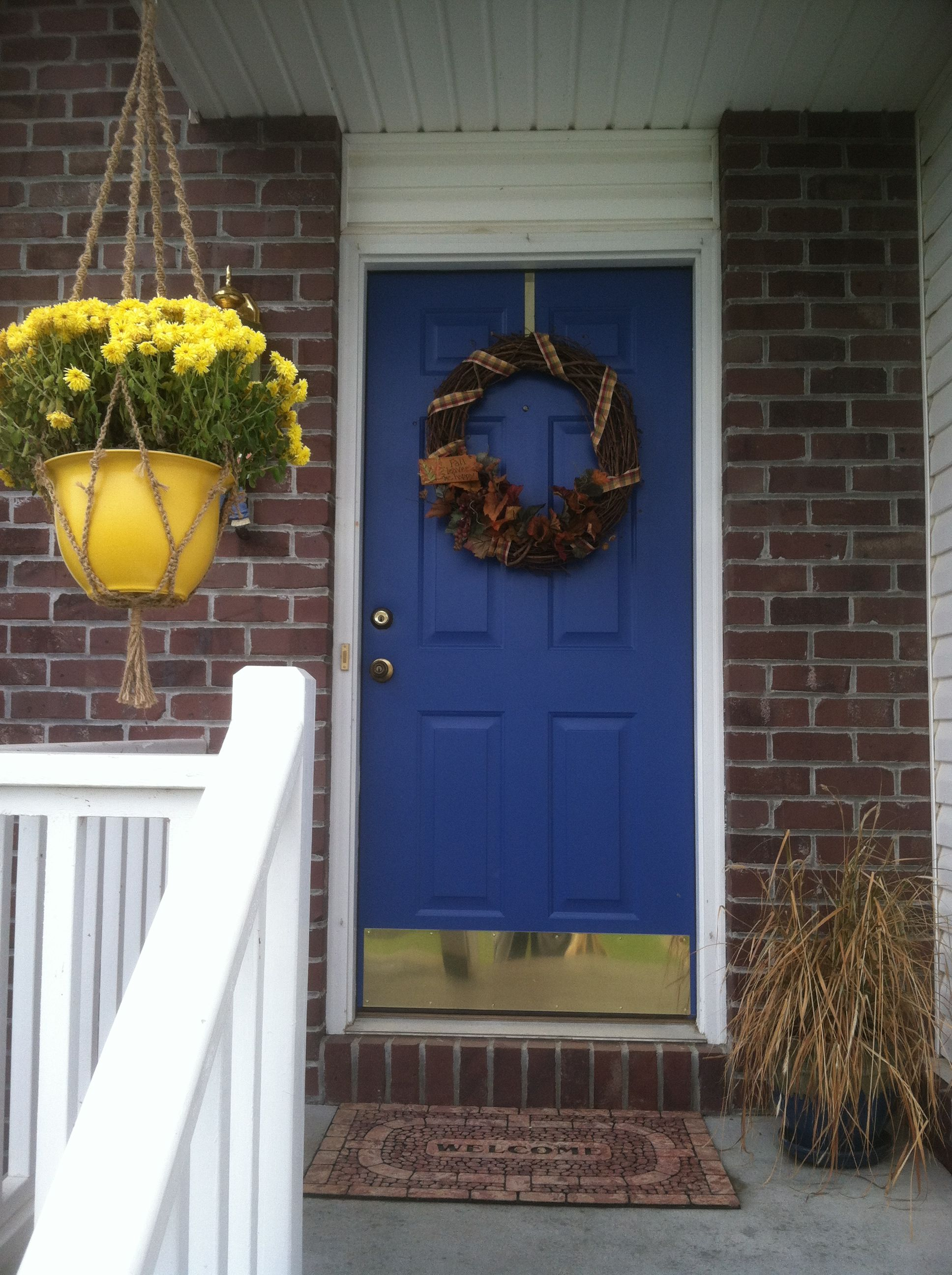 Blue Front Door No On The Gold Kick Plate For The Home