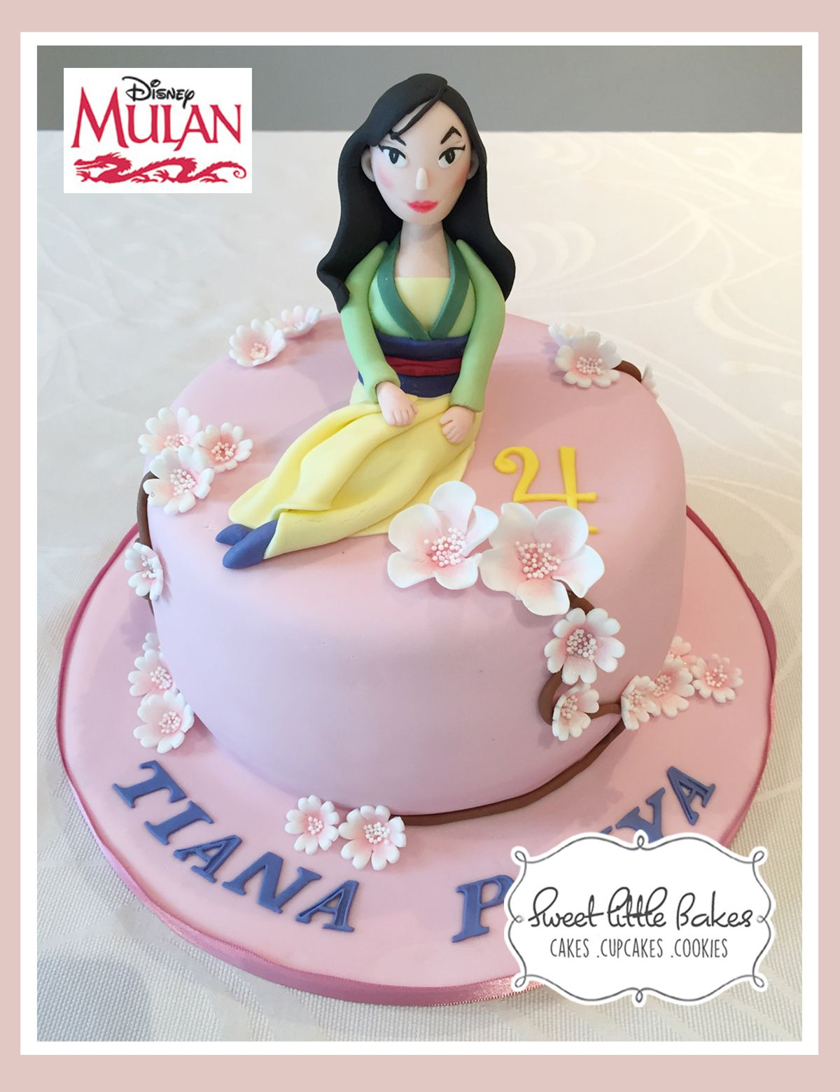 Terrific Disney Mulan Birthday Cake Girls Eggless Cherryblossoms Funny Birthday Cards Online Alyptdamsfinfo