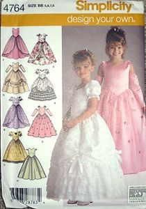 be79466f7f9be Simplicity Childs Girls Southern Belle Ball Gown Dress Pageant Pattern 4764  s5-8 | eBay