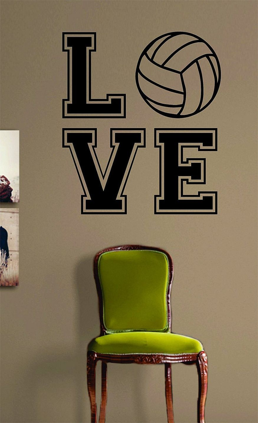 Volleyball Love V Quote Design Sports Decal Sticker Wall Vinyl - Vinyl volleyball wall decals