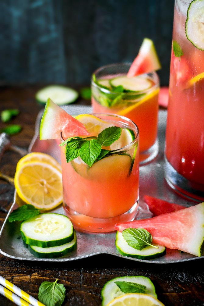 Boozy Watermelon Mint Lemonade - Host The Toast