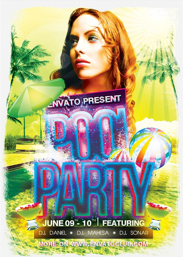 Pool Party Flyer By Samuel Lamaz Via Behance  Fonts