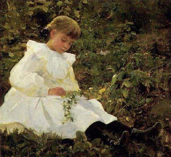 Little Marion (Little Girl In White)-Douglas Volk (1856 – 1935, American)